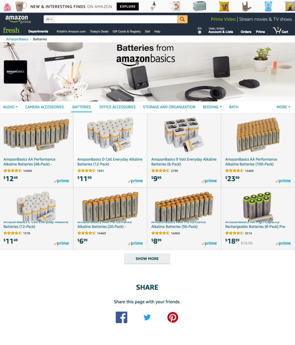 Above: a category-level store page for AmazonBasics batteries.