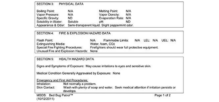 This is an example of an MSDS.