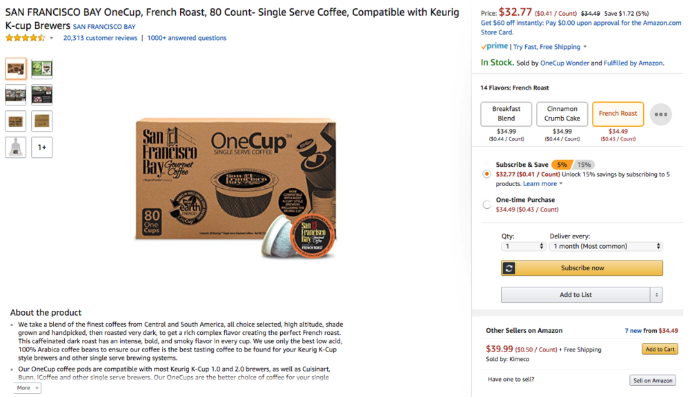 Above: example of a Amazon product page, with a keyword-optimized title, descriptive bullets, quality product images, logical flavor variations, and enrolled in the Subscribe & Save subscription program.