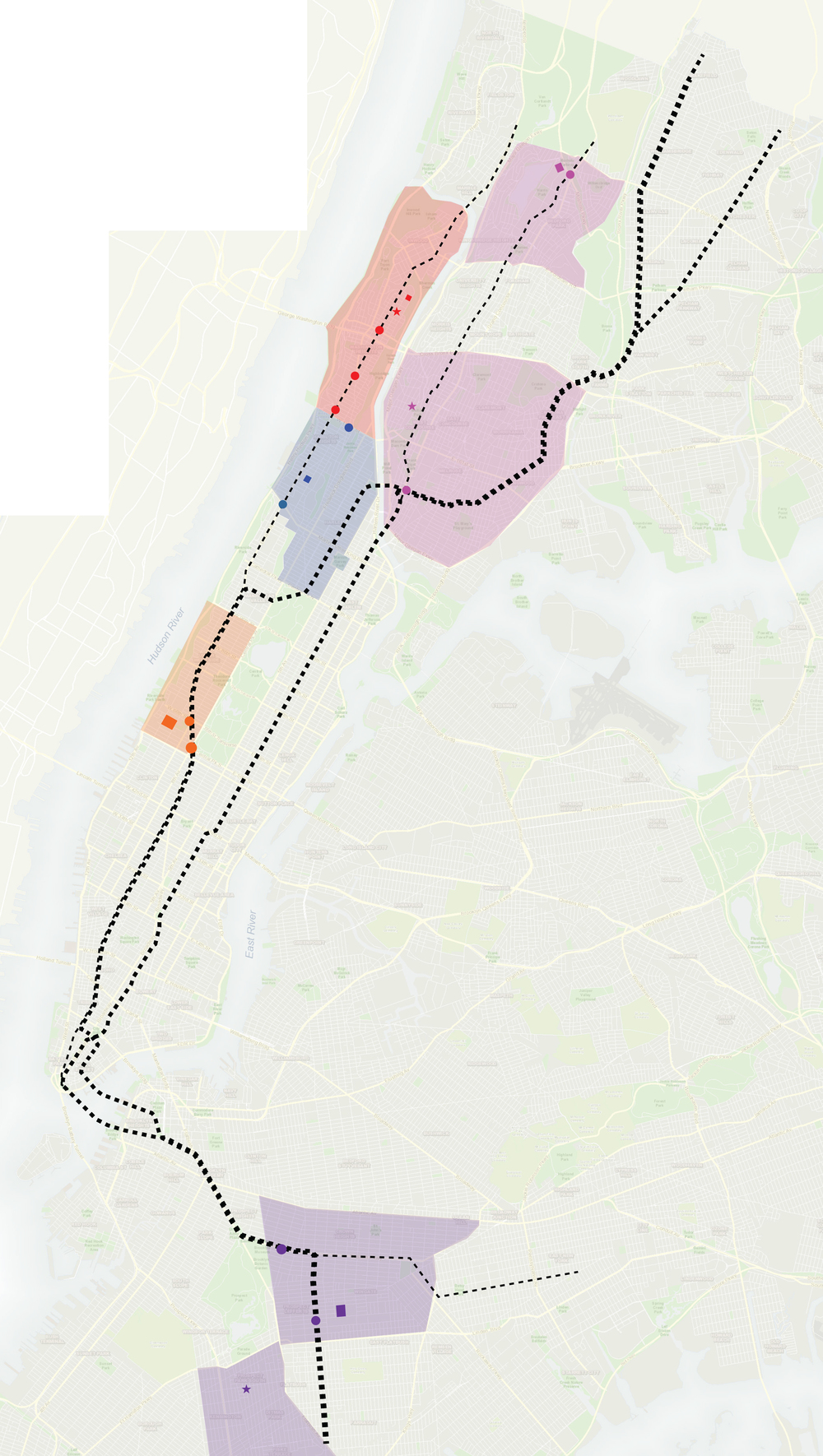 3.1. Using subway lines as paths and primary connectors