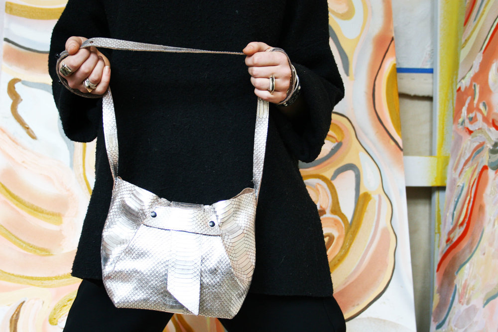 Silver Snake Leather bag
