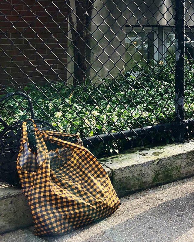 Oh This? It's Just Lil A Fun Bag ¯\_(ツ)_/¯ . . . . . . . . . #funbags #reusablebags #grocerybag  #fashion #stylish #accessories #gingham #bag #shop #nyc #brooklyn #artistsofinstagram