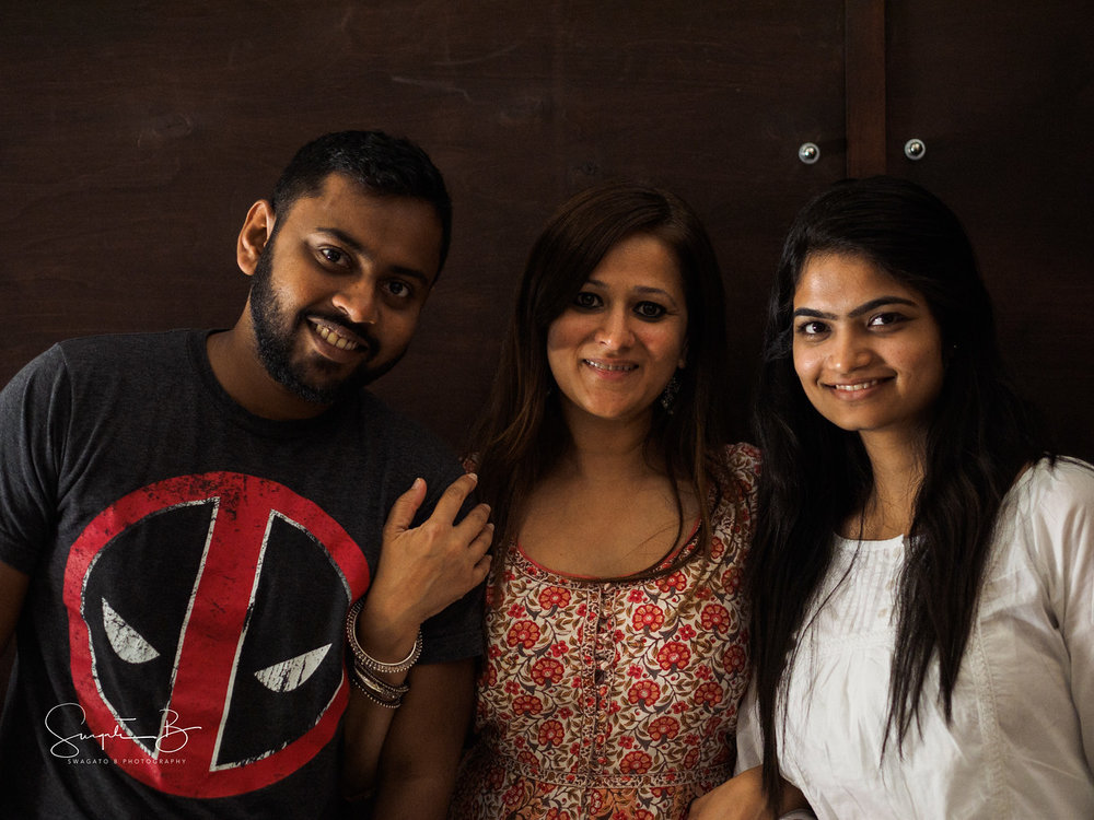 Stage Team members Chandu Subash and Purva Gaggar with Director Sindu Singh