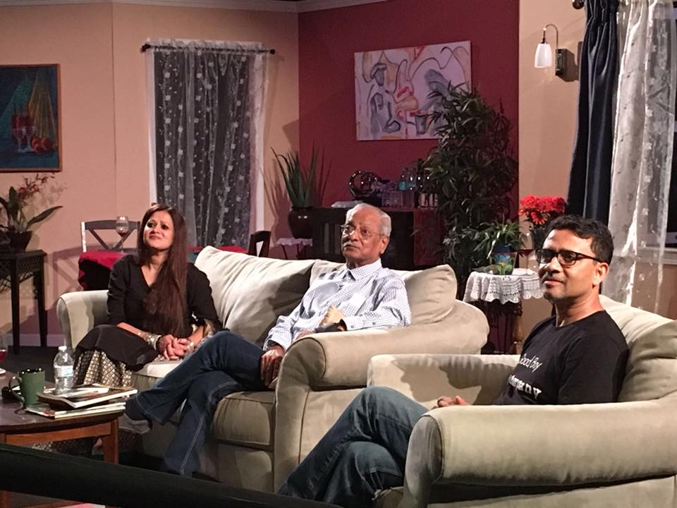 TalkBack with the playwright Mahesh Elkunchwar (middle) flanked by Sindu Singh (left) and Basab Pradhan (right )on the sets of  Sonata  at Lohman Theatre. PC: Anju Prakash