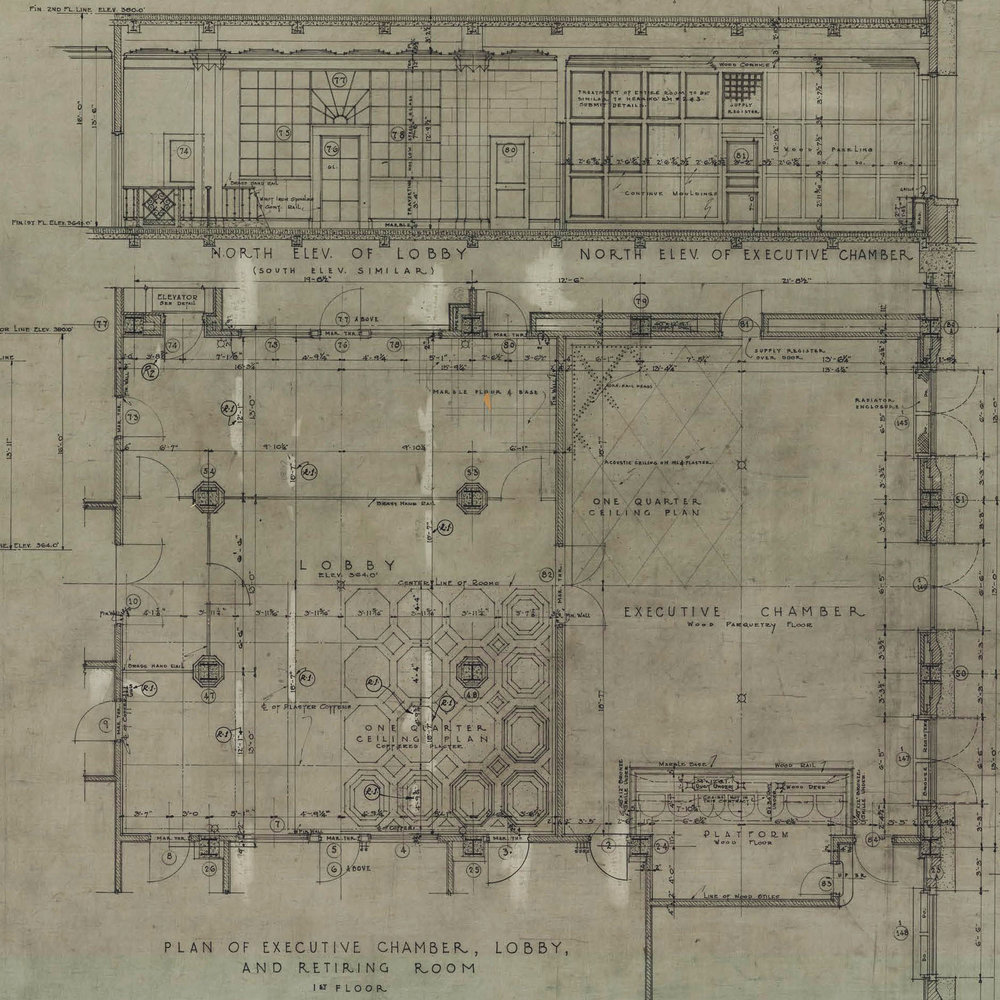 Above: A detail of the 1927 design drawing for the spaces of Suite 104 in the North Office Building on the PA Capitol Complex (Gehron & Ross Architects Sept. 07, 1927). The drawing above shows an ornate coffered plaster ceiling that is completely gone now.