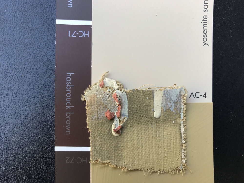 "Above: One small (2"" x 2"") c. 1928 canvas fragment, found behind a segment of original picture rail that had been hidden above a c. 1950 drop ceiling, contained the entire orignal color scheme (albeit under almost 90 years of dirt)."
