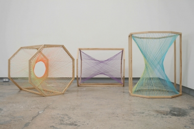 Nike Savvas,  Sliding Ladders  (detail view), 2014, wool, wood and stainless steel, 61 x 61 x 74 cm each.