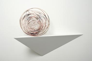Justine Khamara, Orbital Spin Trick, 2013, UV print and hoop pine, 50x50x50cm.