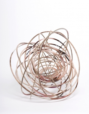Justine Khamara, orbital spin trick, UV print on laser-cut plywood, 50cm diameter approx.