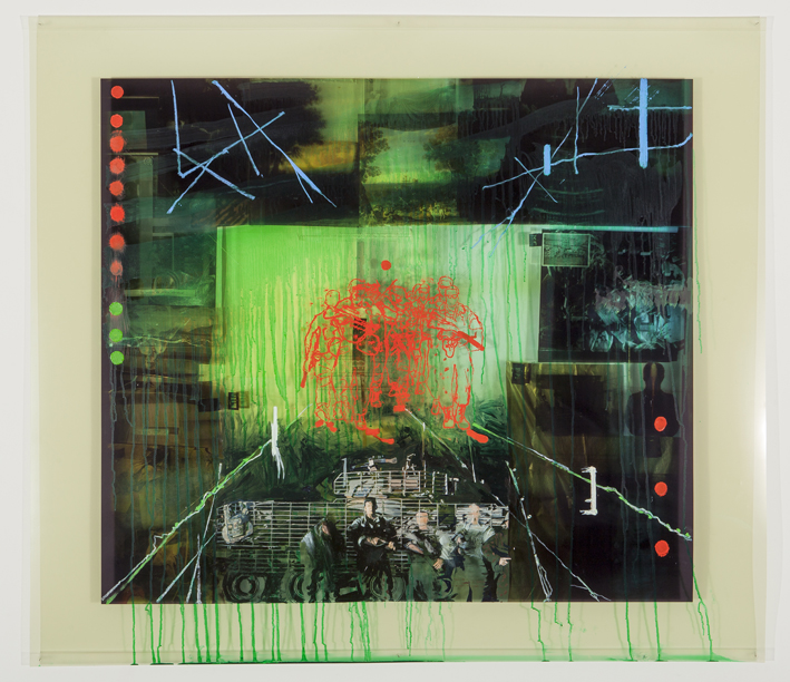 LYNDELL BROWN CHARLES GREEN     War and Peace #11: Night Vision  2014 104 x 108 cm oil and acrylic on digital print on duraclear film
