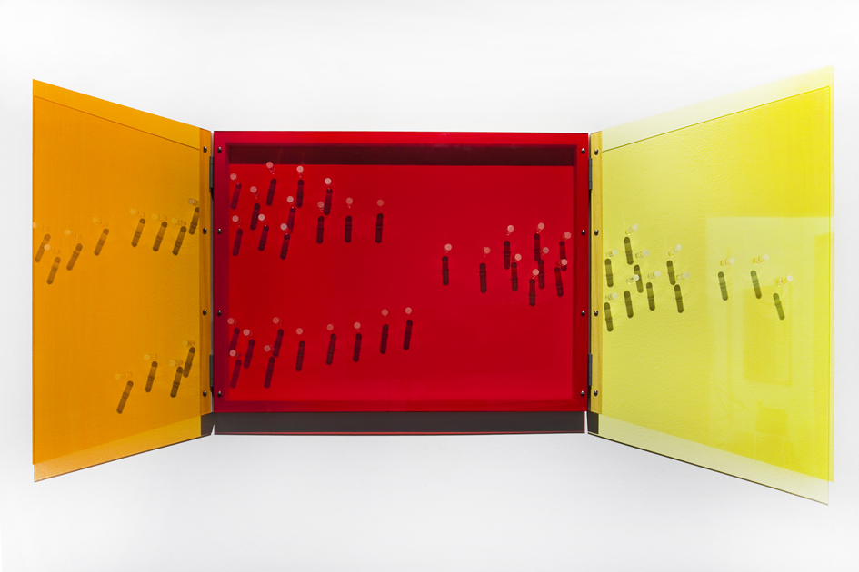 TRACY SARROFF     Window: orange, red, yellow  2013 Perspex, wood, screws, hinges 95 x 130 cm