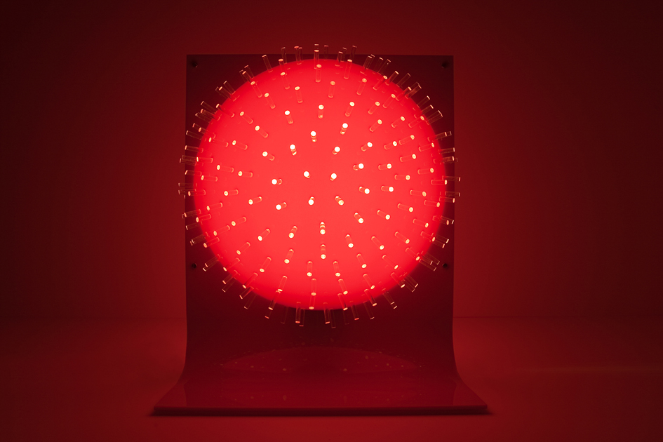 TRACY SARROFF     Rhizopoda Radiaria Double Dome Red-Round Fronds  2008 Perspex with light component 43 x 50 cm