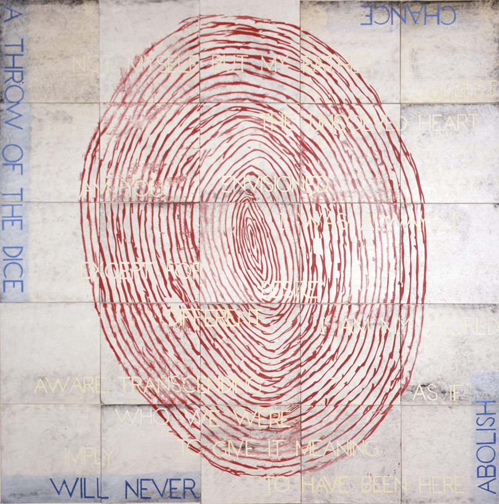 IMANTS TILLERS     God Seen in the Mirror of the World  2012 Acrylic, gouache on 25 canvas boards 152.4 x 152.4 cm