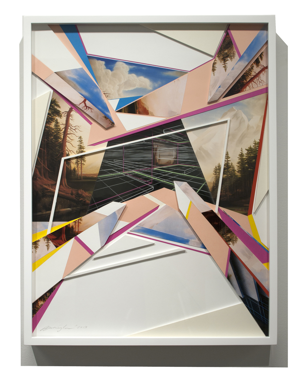 PETER DAVERINGTON     Construction Drawing #1  2013 Paper collage, acetate and marker on foamcore   85 X 64 cm