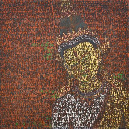 PHAPTAWAN SUWANNAKUDT  Bhaval 2010  Acrylic, Ink, Gold Leaf and Silver Foil on Canvas  50 x 50 cm