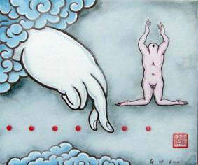 GUAN WEI    Buddha's Hand #9    2010   Acrylic on Card 25 x 30 cm