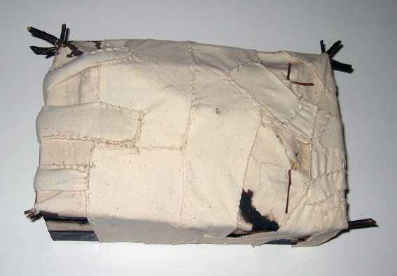 JOHN DAVIS     Untitled  1985 Twigs, Calico, Bituminous Paint, Cotton Threat, Timber 32 x 7 cm