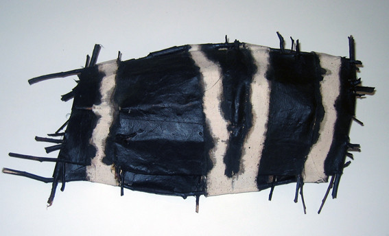 JOHN DAVIS   Component of  I  nventory, 49 Fish  1992 Twigs, Calico, Bituminous Paint, Cotton Thread 17 x 8 cm