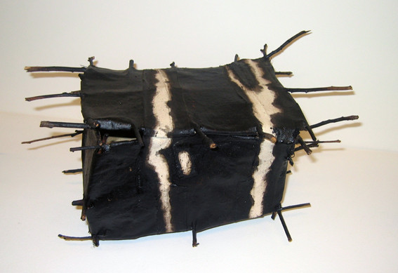 JOHN DAVIS    Component of  Inventory, 49 Fish  1990 Twigs, Calico, Bituminous Paint, Cotton Thread   23 x 38 cm