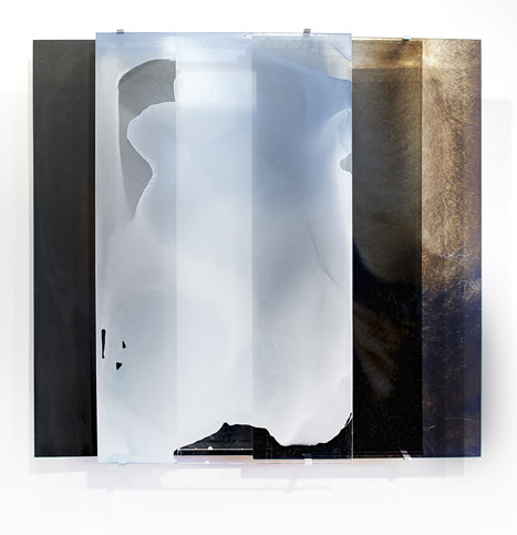 JANET LAURENCE     vanishing series / yearning V  2010 Duraclear, Mirror, Oil on Aluminium, Acrylic, Burnt Wood    107 x 100 cm