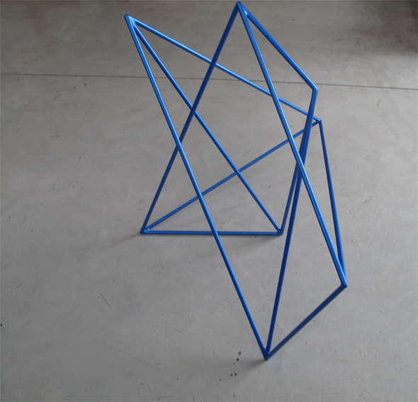 ROBERT OWEN     Metallic Blue  2009 Painted Stainless Steel     65 x 85 cm