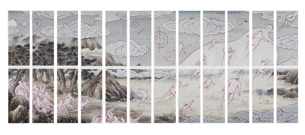GUAN WEI    Transcendence    2007-2008   Acrylic on canvas 267 x 677 cm