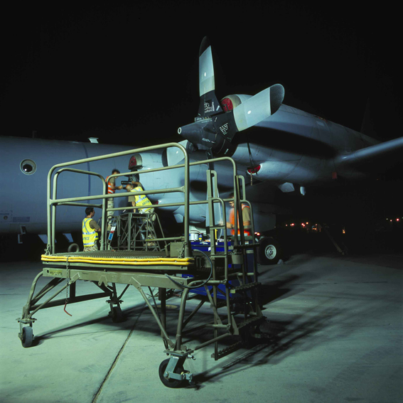 LYNDELL BROWN CHARLES GREEN     Trolley, Propeller change on Flightline at Night, Military Installation, Gulf  2007-08 Digital colour photographs, inkjet prints on rag paper, unframed 111.5 x 107.5 cm