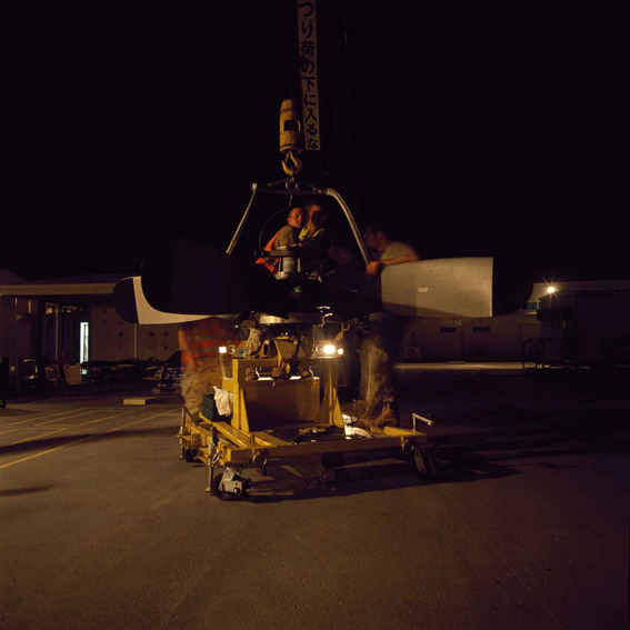 LYNDELL BROWN CHARLES GREEN     Hoist, Propeller Change at Flightline at Night, Gulf  2007-08 Digital colour photographs, inkjet prints on rag paper, unframed 111  .5 x 107  .5 cm
