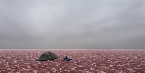 MURRAY FREDERICKS     SALT 300 (Tent & Bike)   2005 pigment print on cotton rag edition of 7 120 x 250 cm