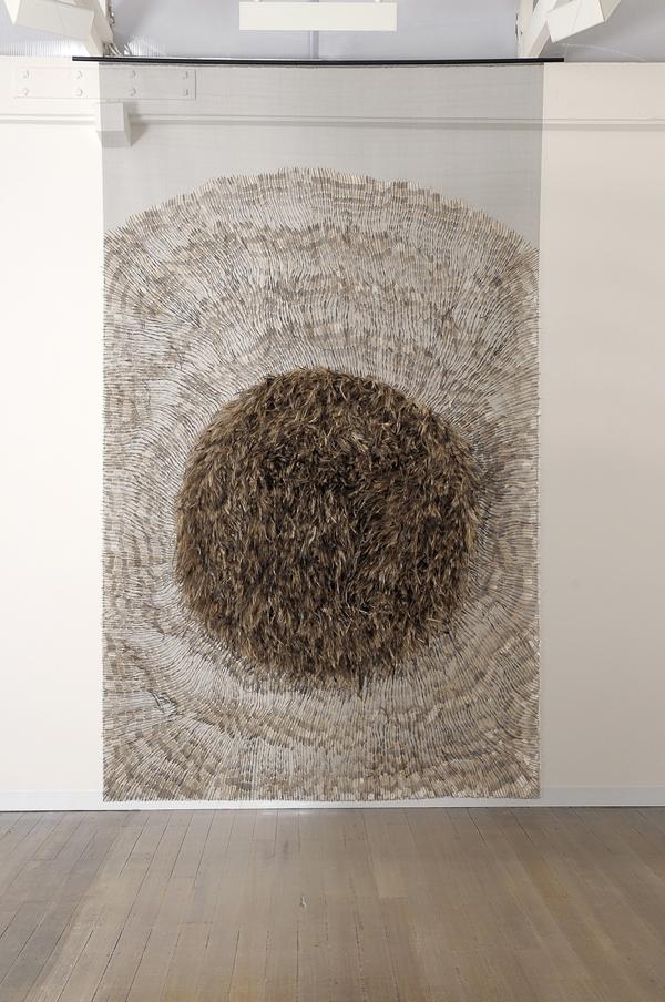 MARIA FERNANDA CARDOSO    Emu Flag #1    2007   emu feathers, fibreglass netting, impasto, steel, fabric, glue   290 x 180 cm