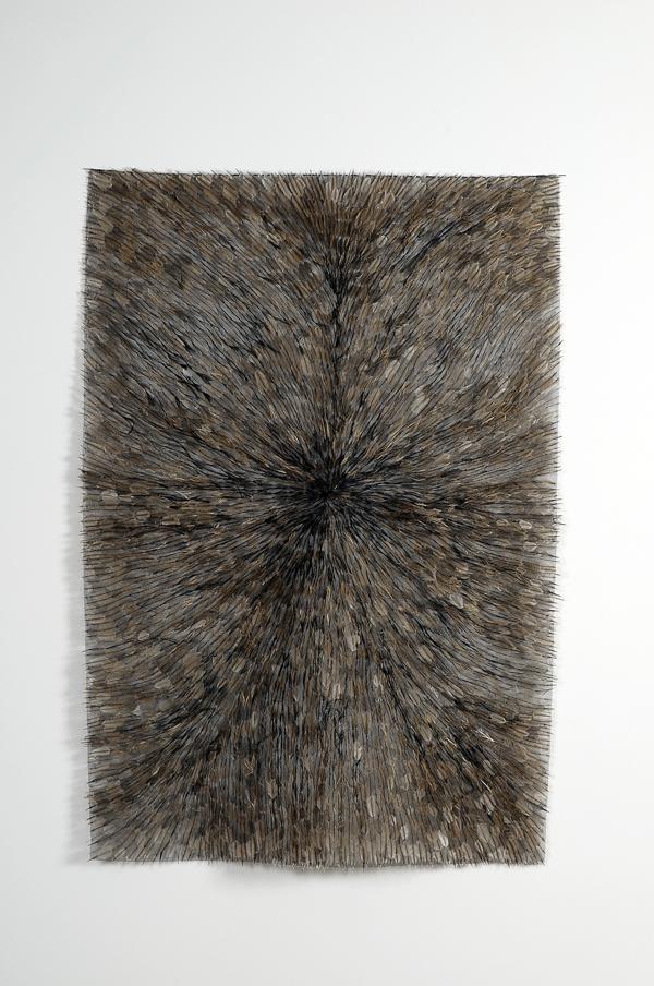 MARIA FERNANDA CARDOSO    Emu Flag #2    2007   emu feathers, fibreglass netting, impasto, steel, fabric, glue   130 x 90 cm