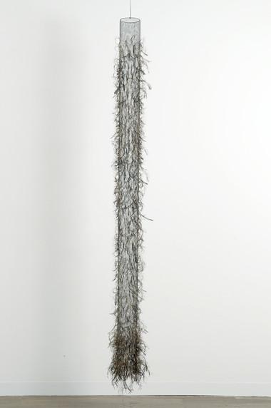 MARIA FERNANDA CARDOSO    Untitled #3    2008   emu feathers, fibreglass net, nylon, metal   269 x 31 cm