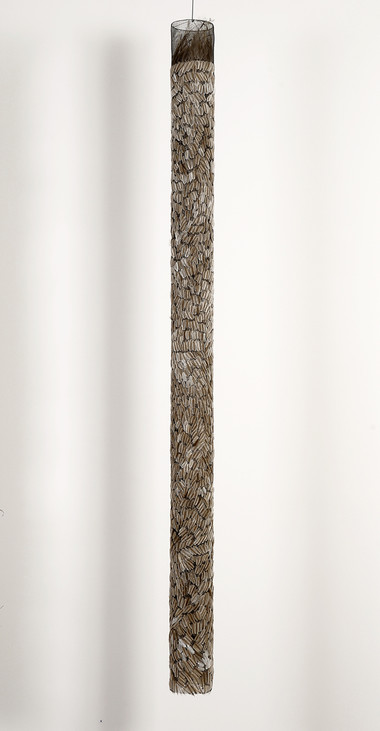 MARIA FERNANDA CARDOSO    Untitled #17    2008   emu feathers, fibreglass net, nylon, metal   228 x 16 cm