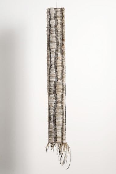 MARIA FERNANDA CARDOSO    Untitled #6    2006-07   emu feathers, fibreglass net, nylon, metal   105 x 17 cm