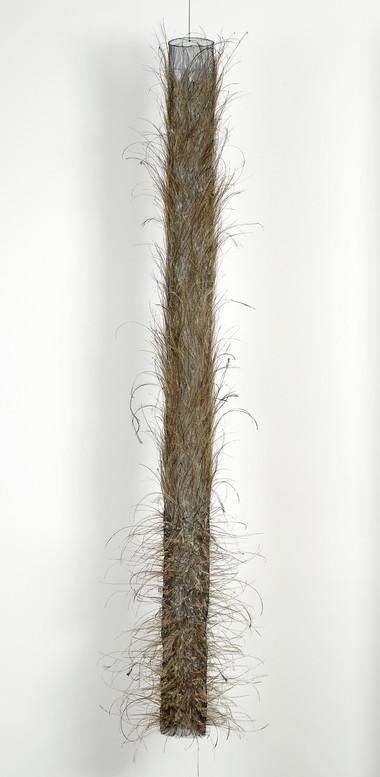 MARIA FERNANDA CARDOSO    Untitled #15    2008   emu feathers, fibreglass net, nylon, metal   237 x 53 cm