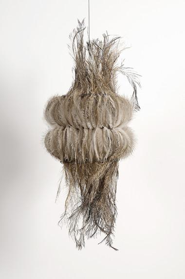MARIA FERNANDA CARDOSO    Untitled #12    2007   emu feathers, fibreglass net, nylon, metal   55 x 23 cm