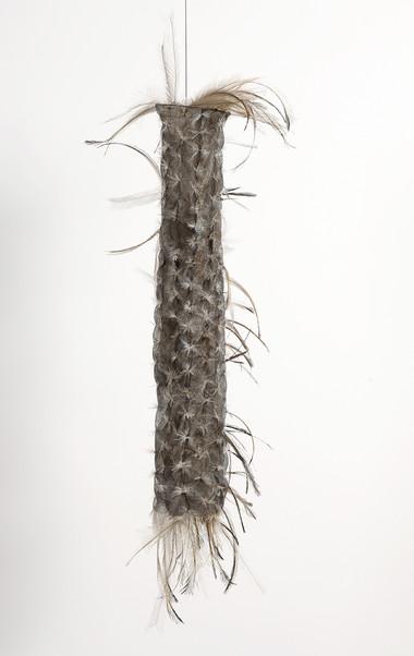 MARIA FERNANDA CARDOSO    Untitled#13    2006-07   emu feathers, fibreglass net, nylon, metal   73 x 26 cm