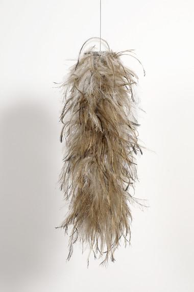 MARIA FERNANDA CARDOSO    Untitled #10    2008   emu feathers, fibreglass net, nylon, metal   63 x 35 cm