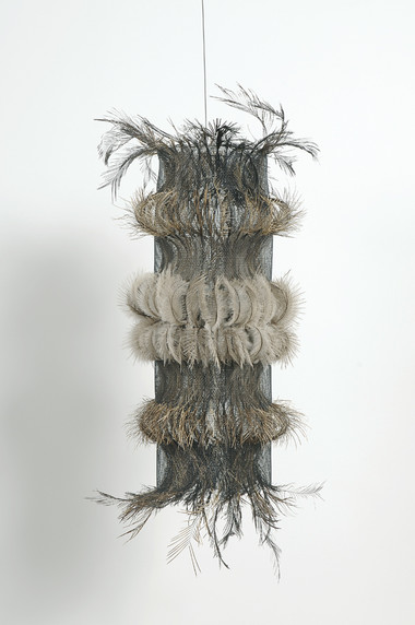 MARIA FERNANDA CARDOSO    Untitled #11    2007   emu feathers, fibreglass net, nylon, metal   50 x 25 cm