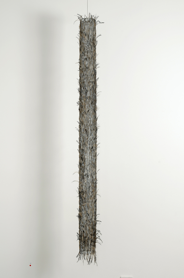 MARIA FERNANDA CARDOSO    Untitled #1    2008   emu feathers, fibreglass net, nylon, metal   224 x 30 cm