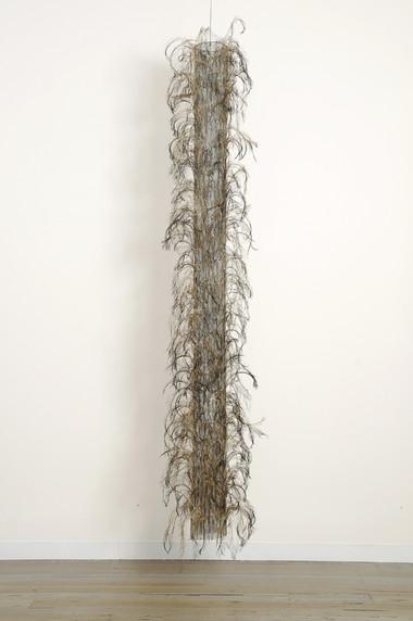 MARIA FERNANDA CARDOSO    Untitled #2    2008   emu feathers, fibreglass net, nylon, metal   273 x 53 cm