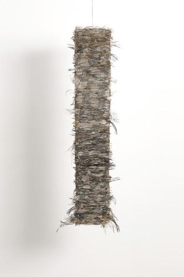 MARIA FERNANDA CARDOSO    Untitled #18    2008   emu feathers, fibreglass net, nylon, metal   72 x 22 cm
