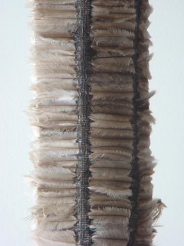 MARIA FERNANDA CARDOSO    Untitled#4    2007   emu feathers, fibreglass net, nylon, metal   241 x 14 cm