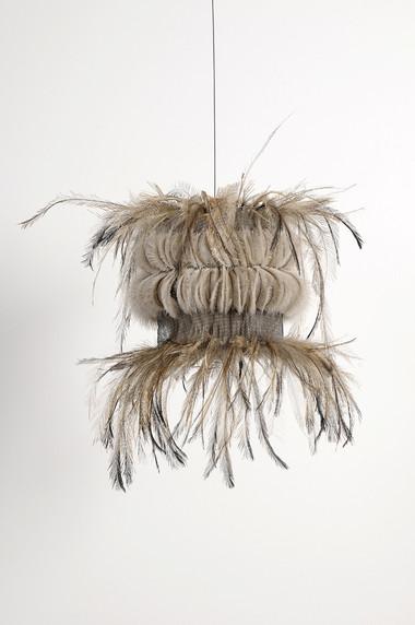 MARIA FERNANDA CARDOSO    Untitled #14    2008   emu feathers, fibreglass net, nylon, metal   36 x 41 cm