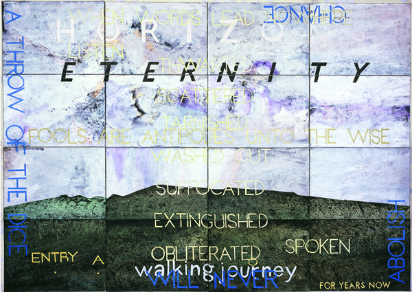 IMANTS TILLERS    Nature Speaks: AO (Eternity)  2008 Acrylic, gouache on 16 canvas boards 143 x 102 cm
