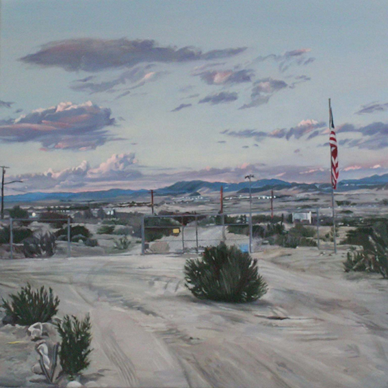 LYNDELL BROWN CHARLES GREEN    Dawn, Marine Base, 29 Palms, October 2004  2006 Oil on Linen 31 x 31 cm