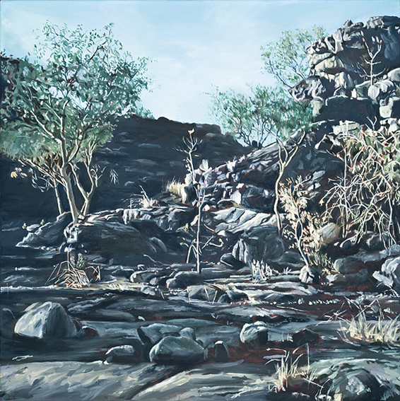 LYNDELL BROWN CHARLES GREEN    Kakadu  2007 Oil on Linen 31 x 31 c
