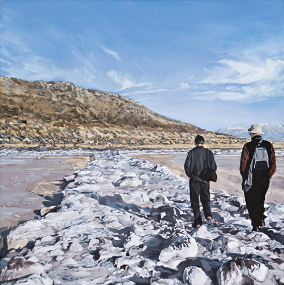 LYNDELL BROWN CHARLES GREEN    Spiral Jetty with Figures, October 2004  2006 Oil on Linen 31 x 31 cm