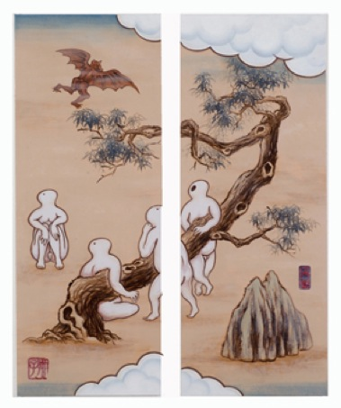 GUAN WEI   A Mysterious Land No.5  2007 Acrylic on canvas (2 panels)  130 x 106 cm