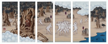 GUAN WEI   A Mysterious Land No.8  2007 Acrylic on canvas (6 panels)  130 x 330 cm